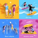 People On Beach vector illustration