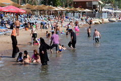 People on the Beach in Eilat Stock Photos