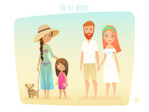 People on the beach, family, surfer, friends, couple and kids. Vector illustratin stock illustration