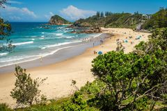 People at the beach in Flynns beach in Port Macquarie, Australia Royalty Free Stock Image
