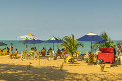 People at the Beach Fortaleza Brazil. FORTALEZA, BRAZIL, DECEMBER - 2015 - Landscape scene with people at the beach in Fortaleza, Brazil Royalty Free Stock Photography