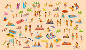 People on the beach fun graphic collection. man woman, couples kids, young and old enjoy summer vacation. Relax,chill have fun, surfing, play dance lying on Stock Images