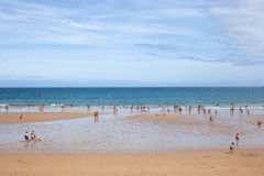 People in the beach of Gijon Royalty Free Stock Photography