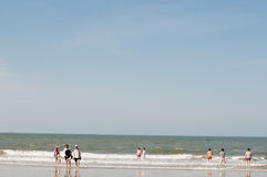 Beach vocation. People on beach ,going on vacation in beihai guangxi province Royalty Free Stock Photos