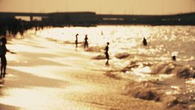 People on beach at golden hour. Defocused shot of unrecognizable people on the beach during golden sunset. Slow motion of silhouettes of people play on sandy stock video footage