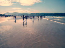 People at the beach of Hendaye, Basque country, France Royalty Free Stock Photography