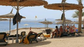 People at the beach lying under the beach umbrella. Sharm-El-Sheikh, Egypt - August 27, 2017: People are having fun at the beach lying under the beach umbrellas stock video footage