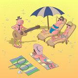 People on the beach. A man plays the guitar on the beach and entertains resting people. Cartoon illustration