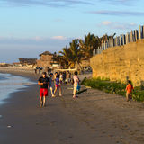 People on the Beach of Mancora, Peru Royalty Free Stock Photography