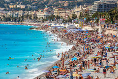 People on the beach in Nice, France. royalty free stock image
