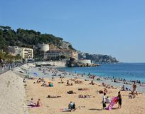 People on the Beach at Nice, France Royalty Free Stock Photos