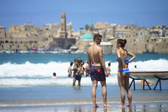 People in the beach of old city Acre, Israel. Stock Photography