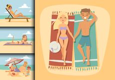 People on beach outdoors, summer lifestyle family fun vacation happy time cartoon characters vector illustration. People on beach outdoors, summer friendship Stock Image