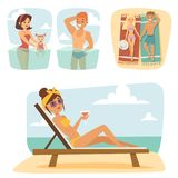 People on beach outdoors, summer lifestyle sunlight fun vacation  Royalty Free Stock Photography