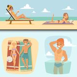 People on beach outdoors, summer lifestyle sunlight fun vacation happy time cartoon characters vector illustration. Royalty Free Stock Images
