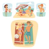 People on beach outdoors, summer lifestyle sunlight fun vacation happy time cartoon characters vector illustration. Royalty Free Stock Photography
