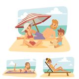 People on beach outdoors, summer lifestyle sunlight fun vacation   Stock Photography