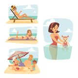 People on beach outdoors, summer lifestyle sunlight fun vacation happy time cartoon characters vector illustration. Stock Photography