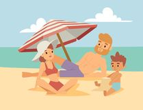 People on beach outdoors, summer lifestyle family fun vacation. People on beach outdoors, summer friendship lifestyle sunlight family teenagers fun vacation royalty free illustration