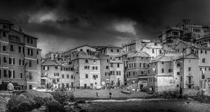 People at the beach. Panorama of the beach of Boccadasse Royalty Free Stock Photos
