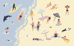 People at beach or seashore relaxing and performing leisure outdoor activities - sunbathing, reading books, talking. Walking, surfing, swimming in sea or ocean stock illustration