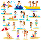 People on the beach set. Summer vacation. Royalty Free Stock Image
