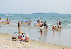 People the beach in Sihanoukville Royalty Free Stock Images