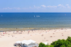 People on the beach of Sopot at Baltic Sea Royalty Free Stock Image