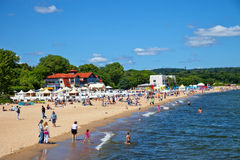 People on the beach in Sopot, Poland. Royalty Free Stock Photography
