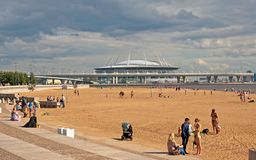 People on the beach in St. Petersburg. Russia Stock Photo
