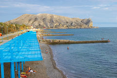 People on the beach of Sudak, Crimea Royalty Free Stock Photo