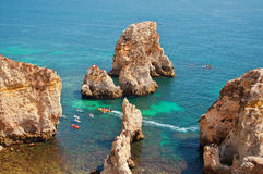 People in the beach. Summer in Algarve, Portugal Royalty Free Stock Photos