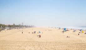 People on beach on sunny day Royalty Free Stock Photos
