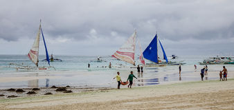 People on the beach at sunny day in Boracay, Philippines Royalty Free Stock Photography