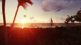 People on the beach at sunrise, air balloon and yacht stock footage