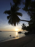 People on beach at sunset, Anse a la Mouche, Mahe`, Seychelles Royalty Free Stock Image