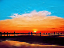 People on beach during sunset. Sunset beach digital illustration. Evening on tropical island. People on beach during sunset. Sunset beach digital illustration royalty free stock photo