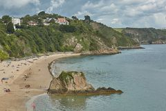 People at the beach in Tenby, Wales, UK. Stock Photos