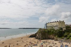 People on beach in Tenby, Wales, UK Royalty Free Stock Photo