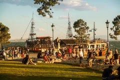 People on beach of Thessaloniki - Greece Stock Image