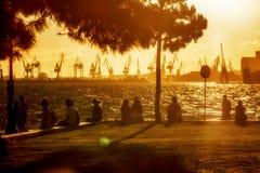 People on beach of Thessaloniki - Greece Stock Photo