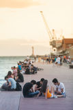 People on beach of Thessaloniki - Greece Royalty Free Stock Image