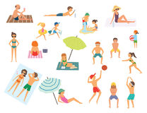 People on the beach.  vector illustration Royalty Free Stock Photo