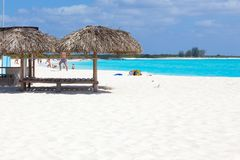 People on the beach. White sand and turquoise sea. Cuba stock images