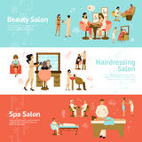 People In Beauty And Spa Salon Horizontal Banners Stock Photo