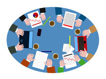 People behind the desktop the top view in plane style Royalty Free Stock Photos
