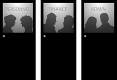 People behind doors. Silhouette illustrations of people behind doors Royalty Free Stock Photography