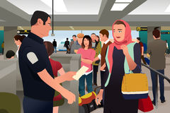 People Being Checked by Custom in the Airport Royalty Free Stock Photos