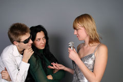 People being interviewed by a journalist Royalty Free Stock Image