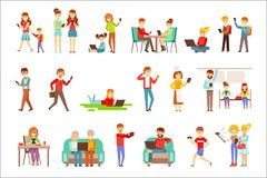 People Being Obsessed With Gadgets Set Of Illustrations Stock Photos